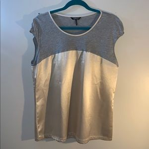 NWOT Gold and Grey Cap Sleeve Blouse
